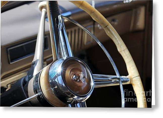 Desoto Car Greeting Cards - Driving Wheel Greeting Card by Sophie Vigneault