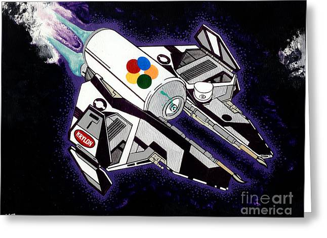 Drobot Space Fighter Greeting Card by Keith QbNyc