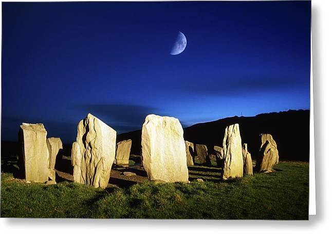 Drombeg, County Cork, Ireland Moon Over Greeting Card by Richard Cummins