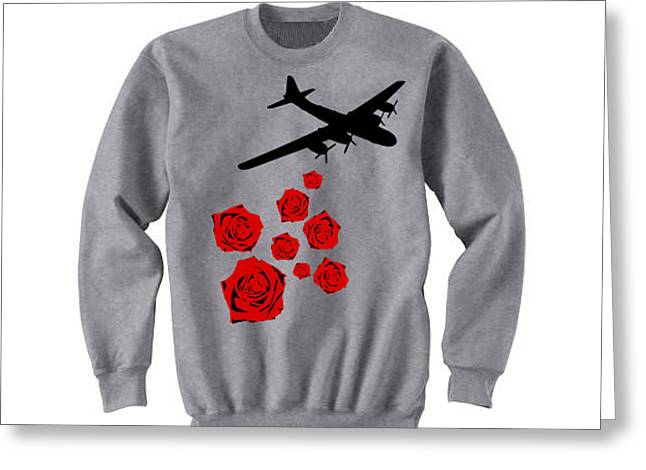 Gray Tapestries - Textiles Greeting Cards - Drop Bouquets Not Bombs Custom Painted Crewneck Sweatshirt Greeting Card by Joseph Boyd