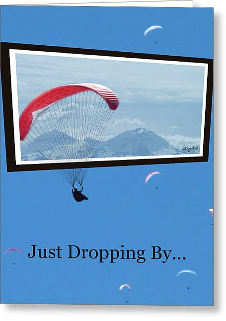 Drifting Snow Greeting Cards - Dropping In Hang Gliders Greeting Card by Cindy Wright