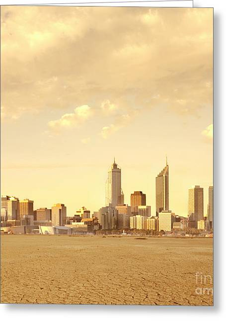 Office Space Photographs Greeting Cards - Drought-Affected City Greeting Card by Dave & Les Jacobs