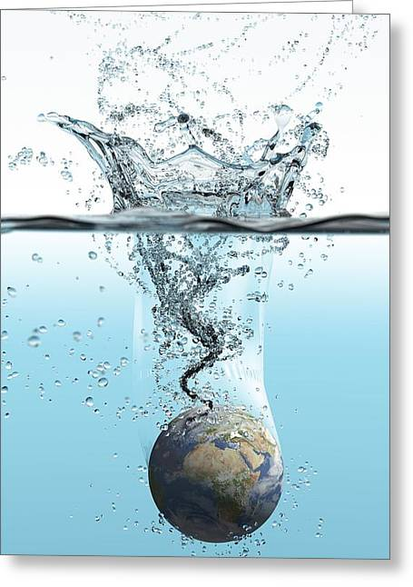 Rising Sea Level Greeting Cards - Drowning Earth, Conceptual Image Greeting Card by Karsten Schneider