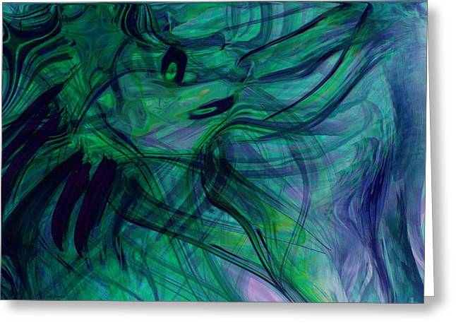 Abstract Expression Greeting Cards - Drowning Greeting Card by Linda Sannuti
