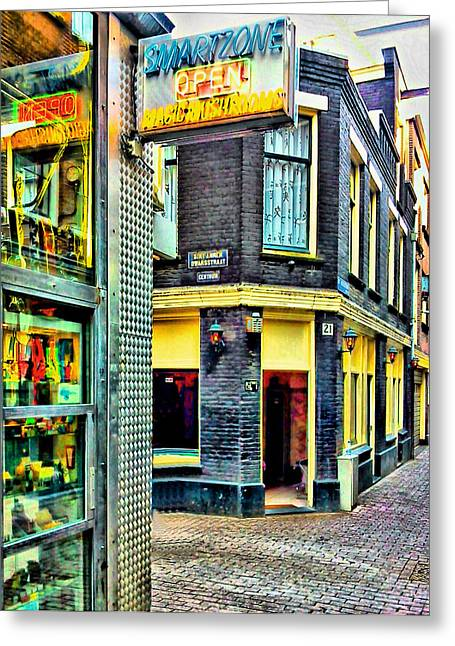 Old Town Digital Art Greeting Cards - Drug and Sex Area in Amsterdam Greeting Card by Yury Malkov