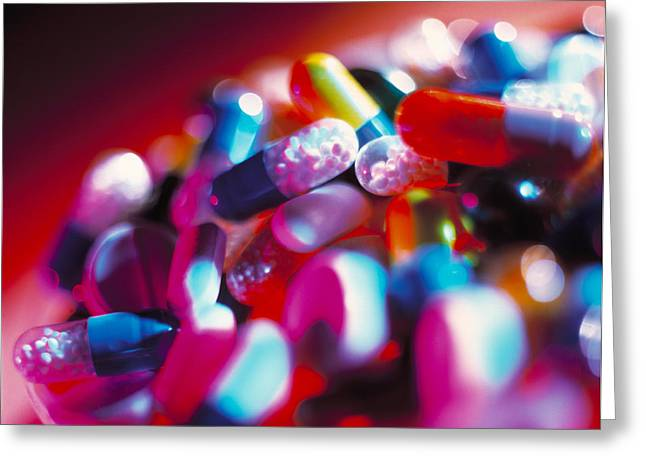 Pill Greeting Cards - Drug Pills And Capsules Greeting Card by Tek Image