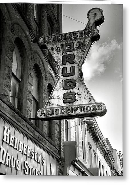 Finger Lakes Greeting Cards - Drug Store Sign Greeting Card by Steven Ainsworth