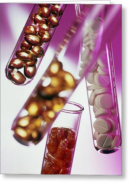 Pill Greeting Cards - Drugs In Test Tubes Greeting Card by Tek Image