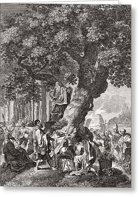 Gallic Greeting Cards - Druids Being Converted To Christianity Greeting Card by Middle Temple Library