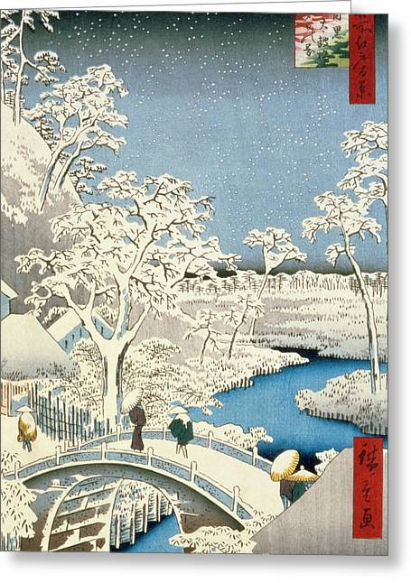 Winter Prints Paintings Greeting Cards - Drum bridge and Setting Sun Hill at Meguro Greeting Card by Hiroshige