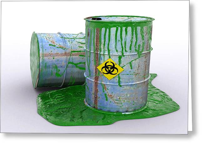Toxic Waste Greeting Cards - Drum Leaking Toxic Waste, Artwork Greeting Card by Christian Darkin