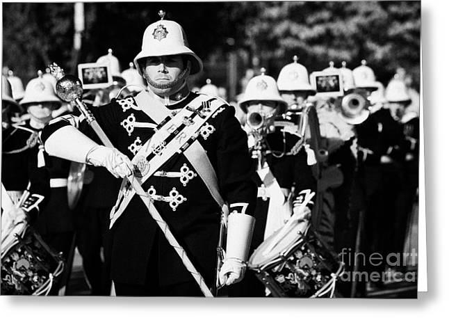 Marching Band Greeting Cards - drum major band leader of the band of HM Royal Marines Scotland perform beat retreat Greeting Card by Joe Fox