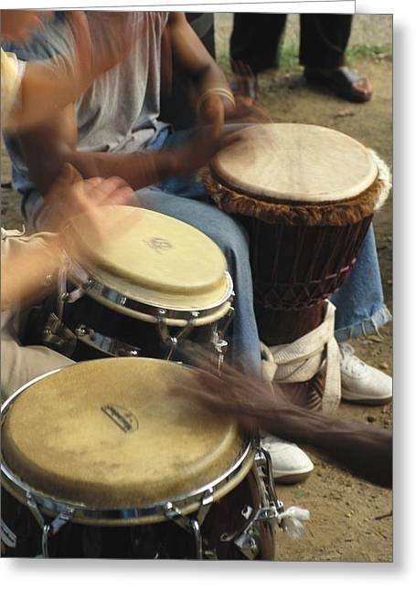 Racial Issues Photographs Greeting Cards - Drummers Of Varied Backgrounds Join Greeting Card by Stephen St. John
