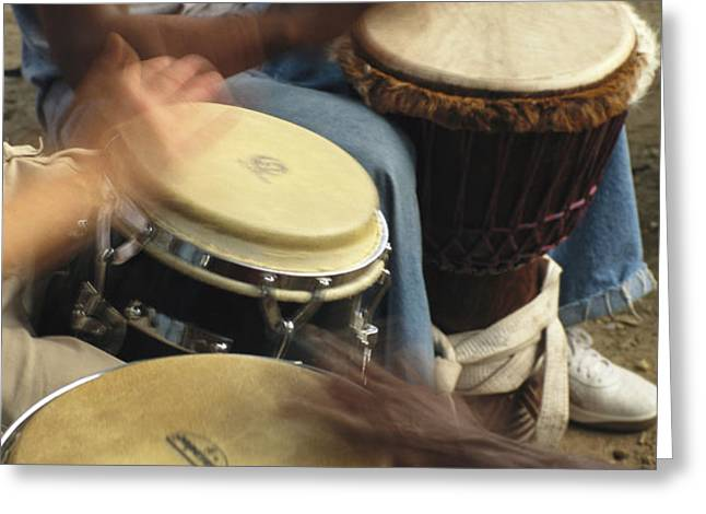 Drummers Of Varied Backgrounds Join Greeting Card by Stephen St. John