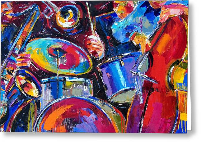 Drums And Friends Greeting Card by Debra Hurd