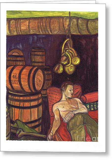 Basement Art Paintings Greeting Cards - Drunken Arousal Greeting Card by Melinda English