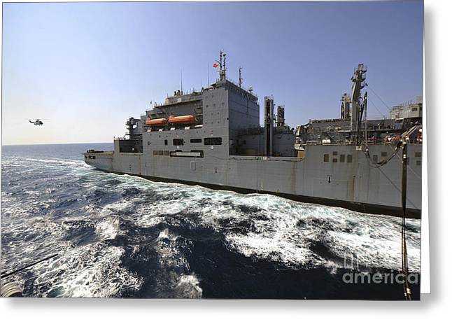 Operation Enduring Freedom Greeting Cards - Dry Cargoammunition Ship Usns Richard Greeting Card by Stocktrek Images