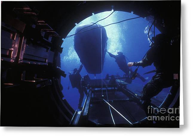 Special Delivery Greeting Cards - Dry Deck Shelter Crewmen Launch A Seal Greeting Card by Michael Wood