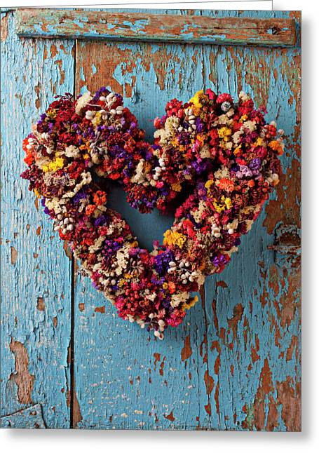 Loving Greeting Cards - Dry flower wreath on blue door Greeting Card by Garry Gay