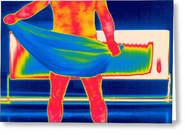 Rubbing Greeting Cards - Drying Off, Thermogram Greeting Card by Tony Mcconnell