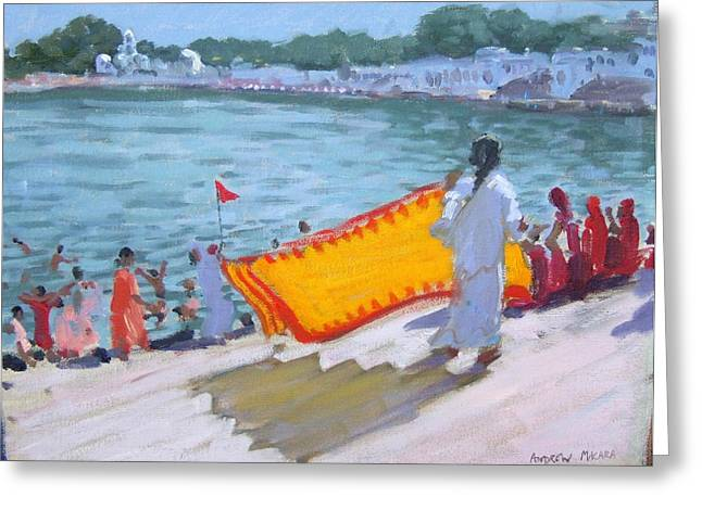 Religious Dress Greeting Cards - Drying Sari Pushkar  Greeting Card by Andrew Macara