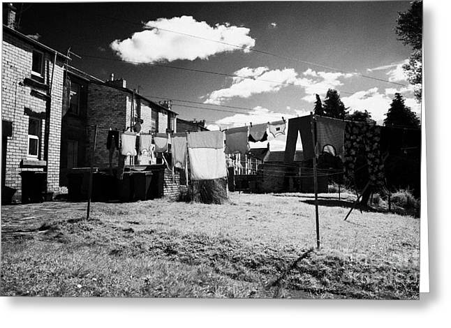 Drying Washing On A Washing Line At The Rear Of Tenement Buildings In Kilmarnock Scotland Greeting Card by Joe Fox