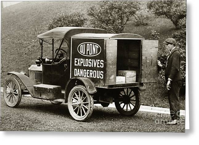 Du Pont Co. Explosives Truck Pennsylvania Coal Fields 1916 Greeting Card by Arthur Miller