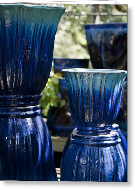 Ceramic Glazes Greeting Cards - Dual Blue Fluted Pots Greeting Card by Teresa Mucha