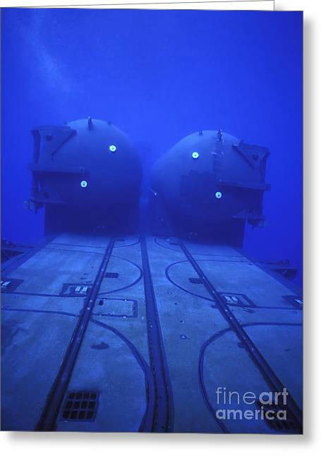 Undersea Photography Greeting Cards - Dual Dry Deck Shelters Mounted Greeting Card by Michael Wood
