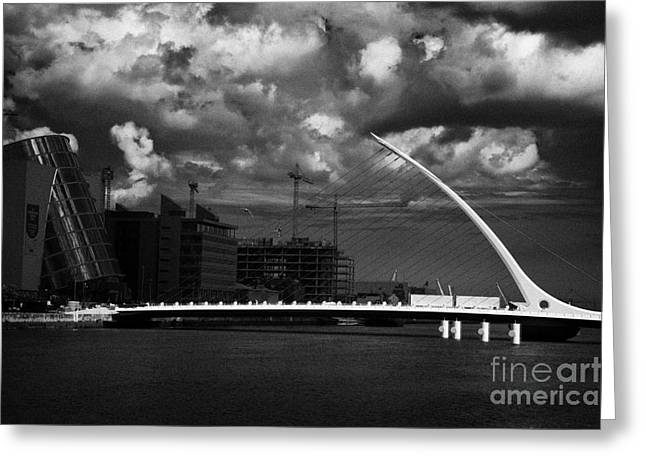 Convention Greeting Cards - Dublin Docklands With New Convention Centre River Liffey And New Samuel Beckett Bridge Dublin  Greeting Card by Joe Fox