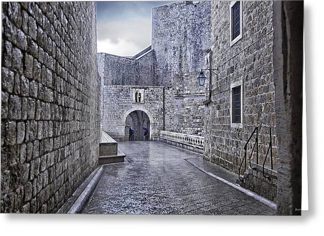 Old Wall Greeting Cards - Dubrovnik In The Rain - Old City Greeting Card by Madeline Ellis