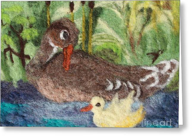 Blue Green Water Tapestries - Textiles Greeting Cards - Duck and Duckling Greeting Card by Nicole Besack
