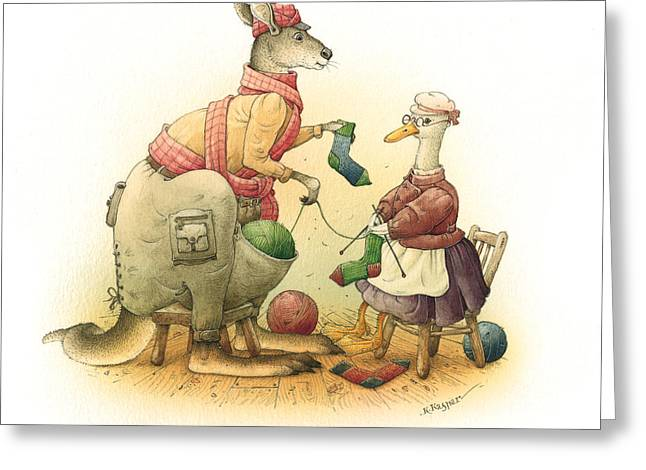 Kangaroo Greeting Cards - Duck and Kangaroo Greeting Card by Kestutis Kasparavicius