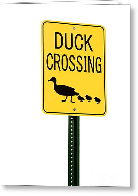 Family Walks Greeting Cards - Duck Crossing sign Greeting Card by Blink Images