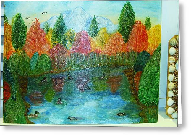 Duck Lake Greeting Card by Jeanne Mytareva