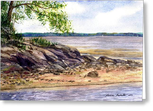 Maine Beach Paintings Greeting Cards - Duck Trap River Outlet Greeting Card by Laura Tasheiko