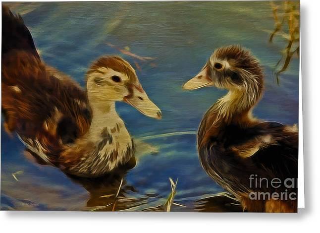 Ducklings Mixed Media Greeting Cards - Duckling Playmates Greeting Card by Deborah Benoit