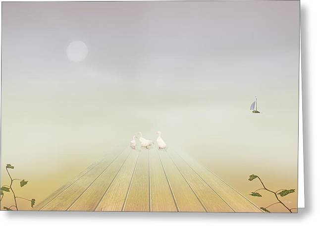Sailboats Docked Greeting Cards - Ducks On The Dock Greeting Card by Tom York Images