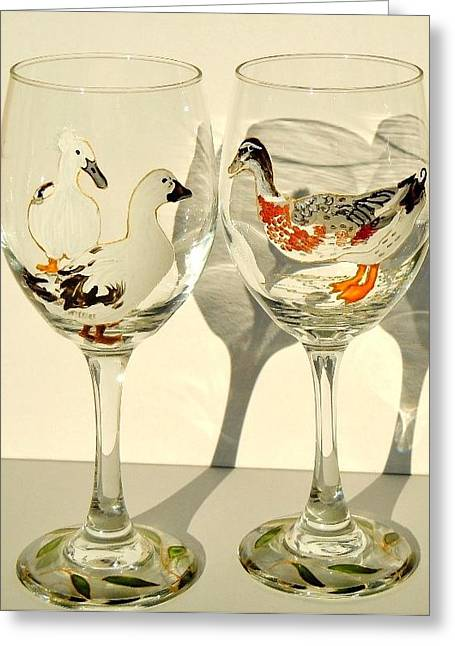 Birds Glass Art Greeting Cards - Ducks on Wineglasses Greeting Card by Pauline Ross