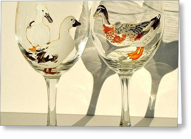Ducks on Wineglasses Greeting Card by Pauline Ross