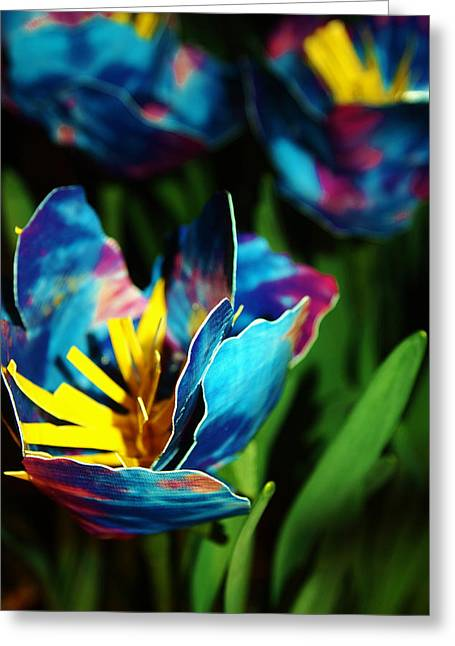 Ducktape Poppies In Blue Greeting Card by Laura  Grisham