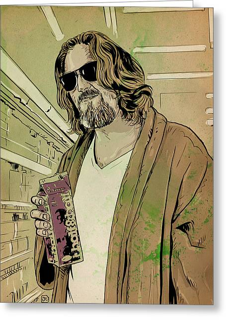 Culture Drawings Greeting Cards - Dude Lebowski Greeting Card by Giuseppe Cristiano