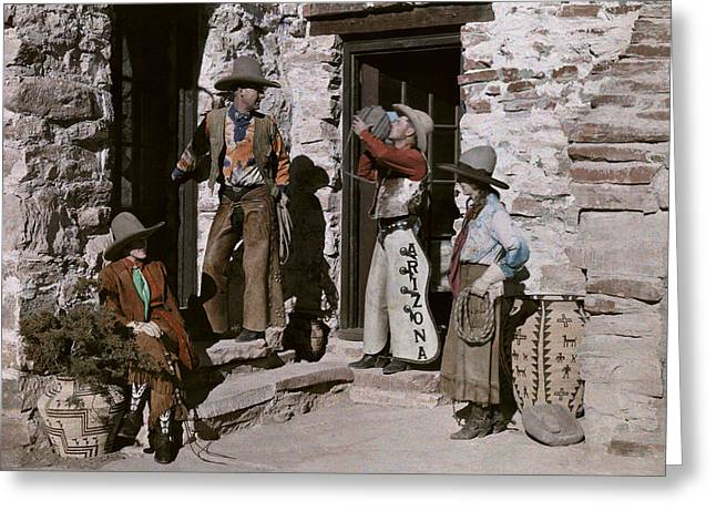Mixed Age Range Greeting Cards - Dude Ranch Guests Pretend To Be Cowboys Greeting Card by Clifton R. Adams