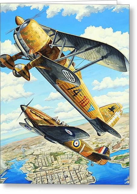World War Ii Drawings Greeting Cards - Duel over Malta Greeting Card by Charles Taylor