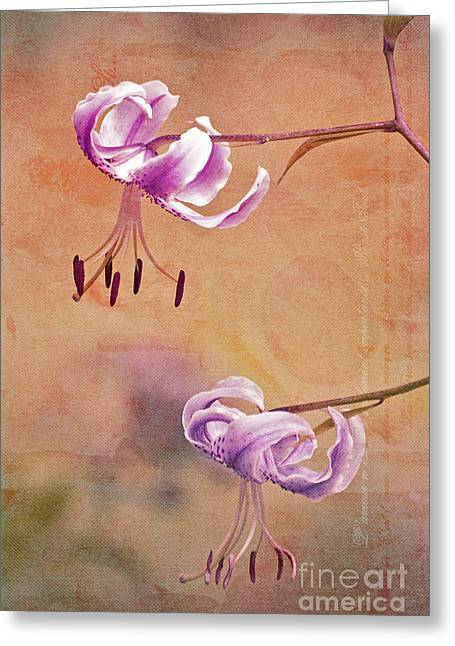 Pink Flower Prints Greeting Cards - Duet 05c Greeting Card by Aimelle