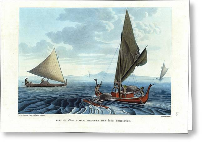 Best Sellers -  - Pacific Ocean Prints Greeting Cards - Dugout outriggers from the Carolines seen on Tinian Island Greeting Card by d apres A Berard and A Taunay