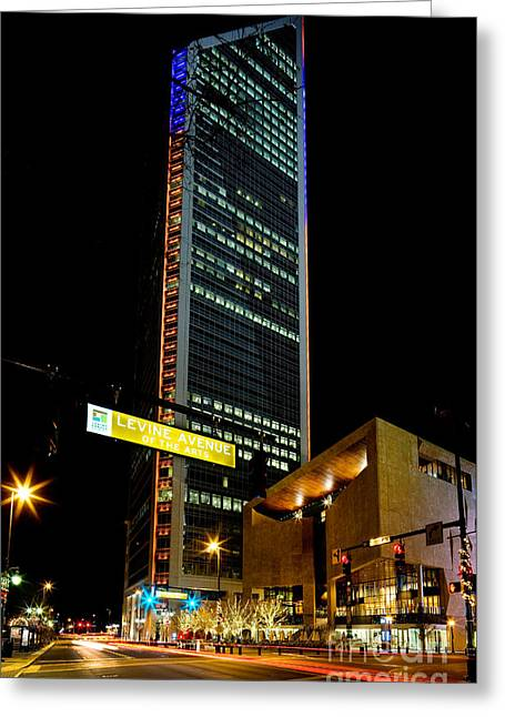The Mint Museum Uptown Greeting Cards - Duke Energy tower at night Greeting Card by Patrick Schneider