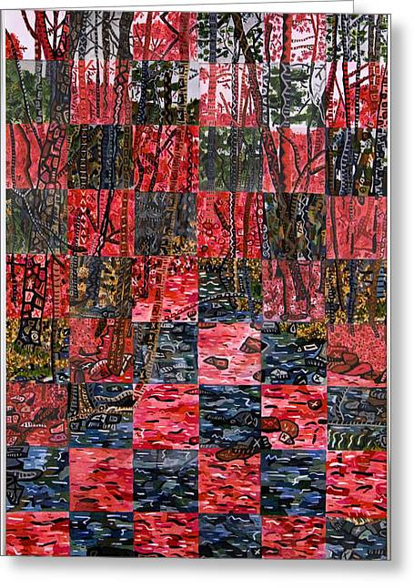 Universities Glass Art Greeting Cards - Duke Forest Greeting Card by Micah Mullen