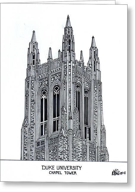 Universities Drawings Greeting Cards - Duke University Chapel Tower Greeting Card by Frederic Kohli
