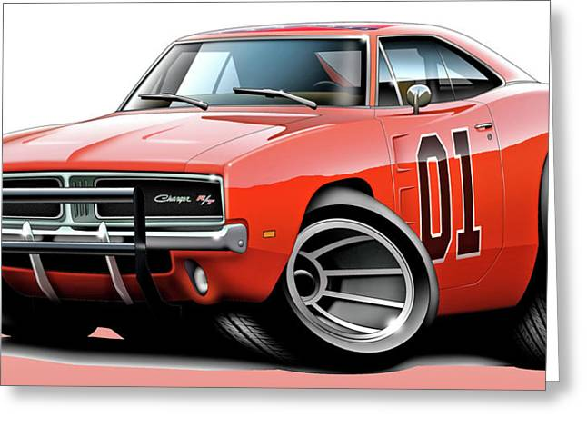 Back To The Future Greeting Cards - Dukes of Hazzard General Lee Greeting Card by Maddmax